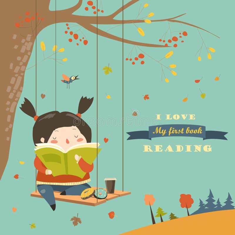 Fille mignonne balançant et lisant un livre en parc d'automne illustration de vecteur