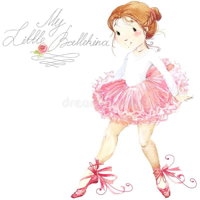 Fille mignonne Ballerine Fille mignonne de ballerine Aquarelle de ballerine illustration stock