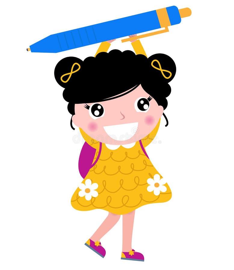 Fille mignonne d'école avec le crayon lecteur illustration libre de droits