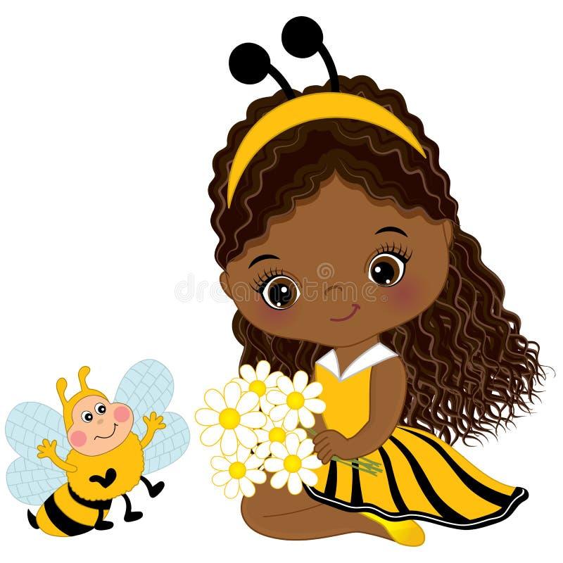 Fille mignonne d'Afro-américain de vecteur petite avec l'abeille et les fleurs illustration de vecteur