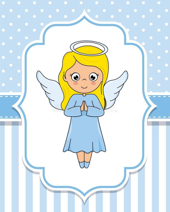 Fille mignonne d'ange avec des ailes illustration stock