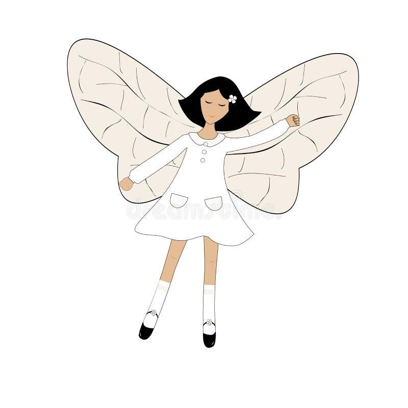 Fille mignonne de bande dessinée avec des ailes de papillon illustration de vecteur