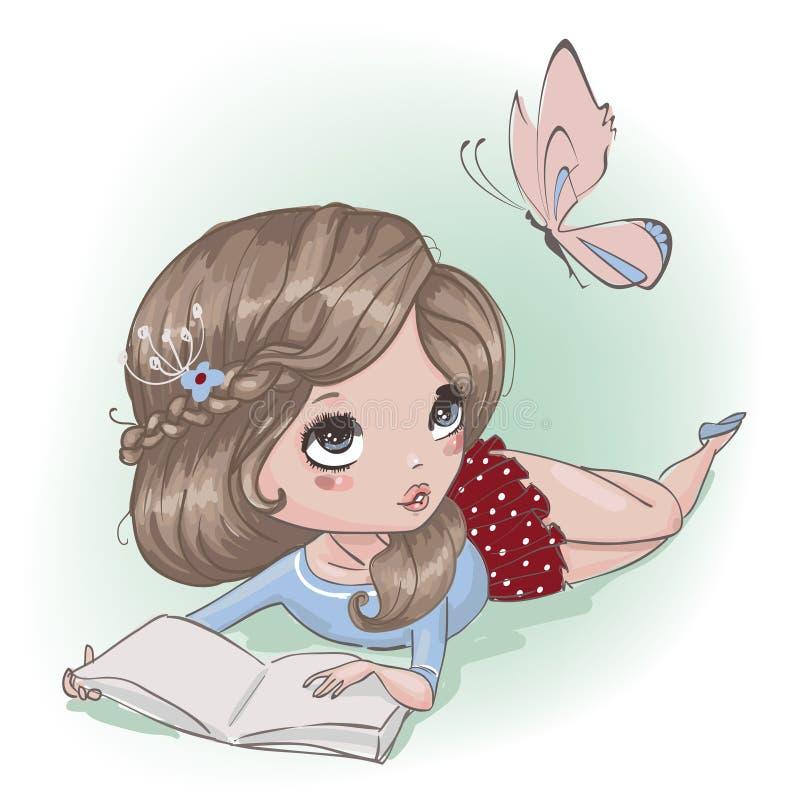 Fille mignonne de bande dessinée avec le papillon illustration libre de droits