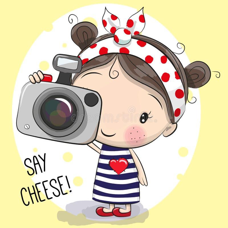 Fille mignonne de bande dessinée avec un appareil-photo illustration stock
