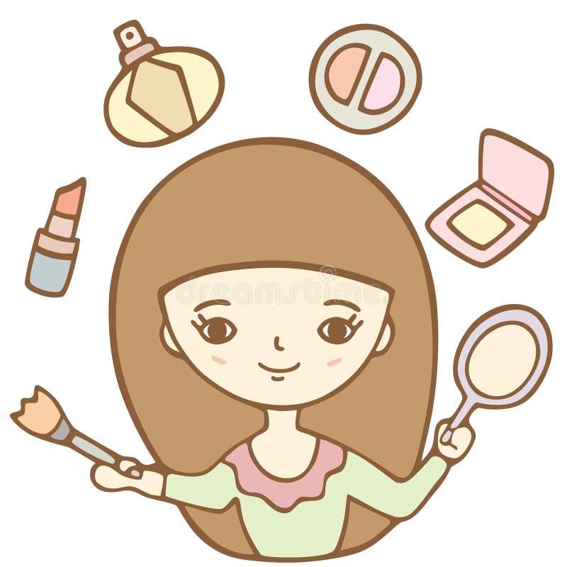 Fille mignonne de bande dessinée faisant son maquillage avec le miroir illustration libre de droits