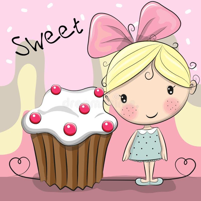Fille mignonne de carte de voeux avec le gâteau illustration de vecteur