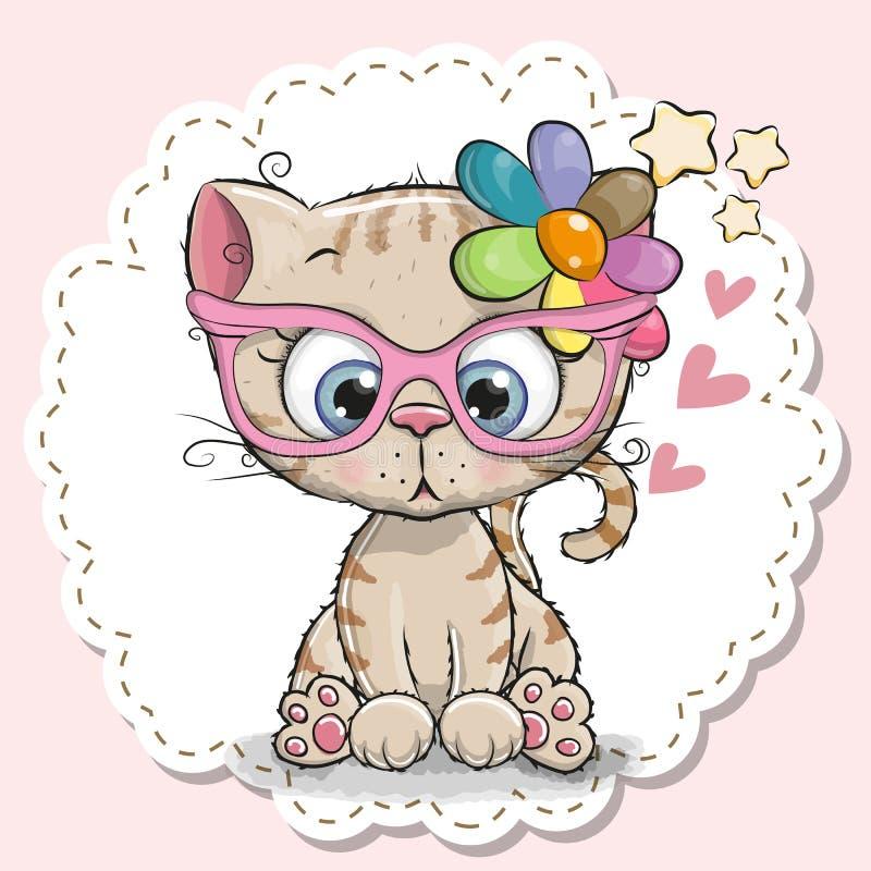 Fille mignonne de chat dans des lunettes roses illustration libre de droits
