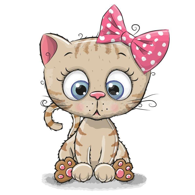 Fille mignonne de chaton de bande dessinée illustration de vecteur