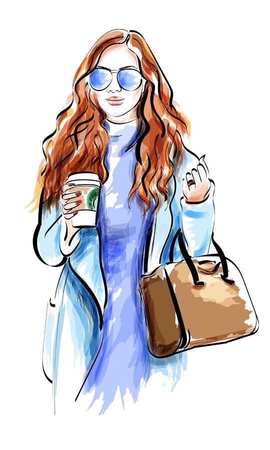 Fille mignonne de croquis avec des accessoires Dame de mode dans des lunettes de soleil illustration libre de droits