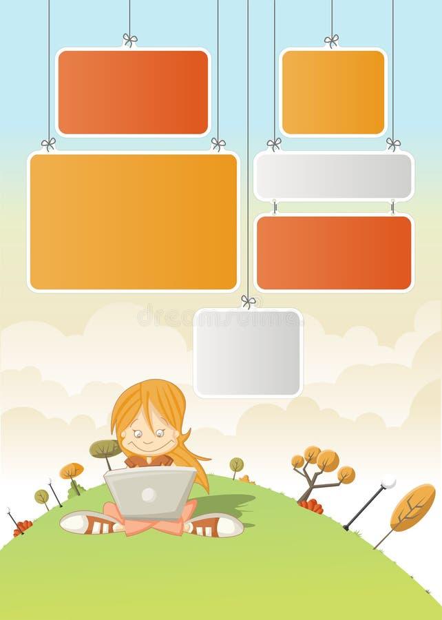 Fille mignonne de dessin animé avec l'ordinateur portatif illustration stock