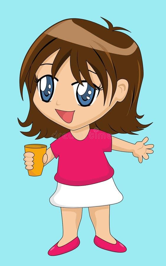 Fille mignonne de dessin animé avec la cuvette illustration libre de droits