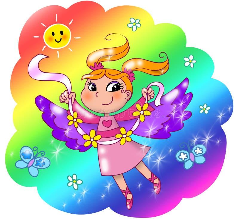 Fille mignonne de fée d'arc-en-ciel illustration libre de droits