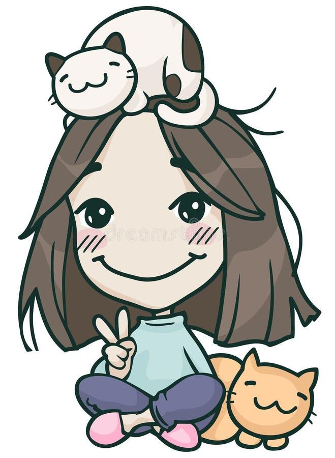 Fille mignonne de Hikikomori avec des chats illustration stock