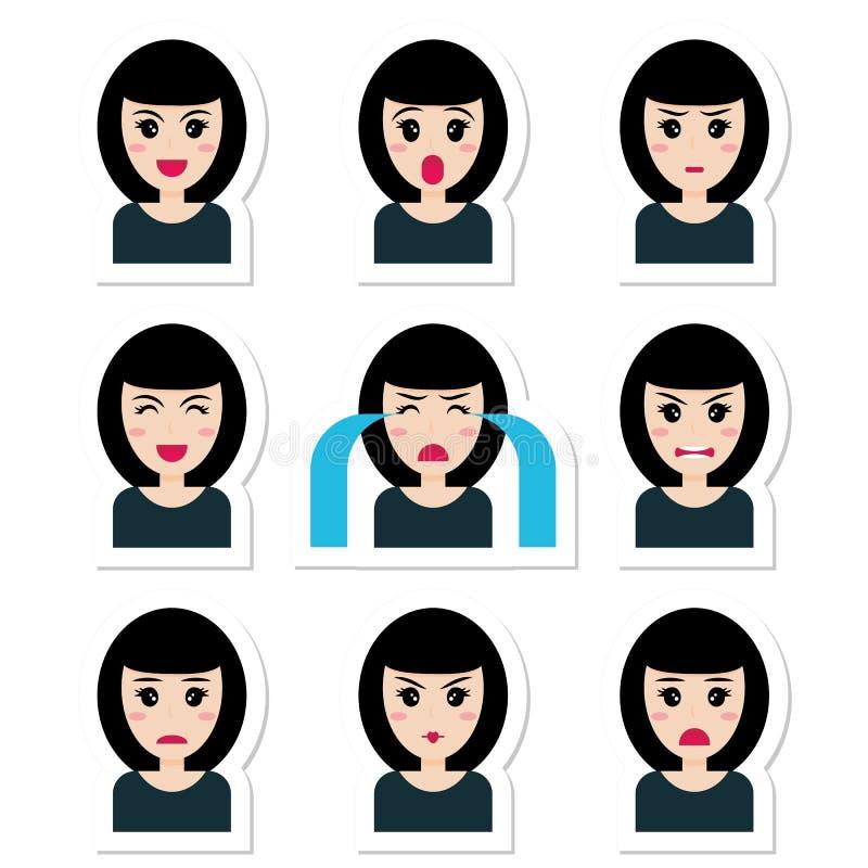Fille mignonne de personnage de dessin animé plat avec les cheveux noirs, différentes émotions illustration stock