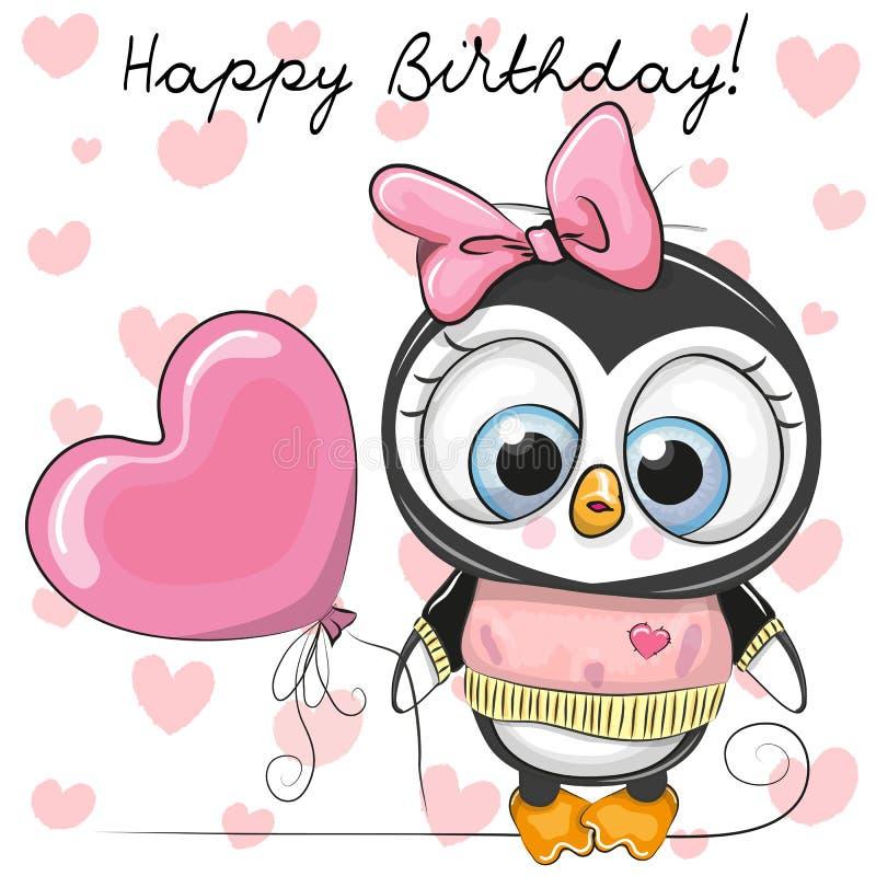Fille mignonne de pingouin de bande dessinée avec un ballon illustration stock