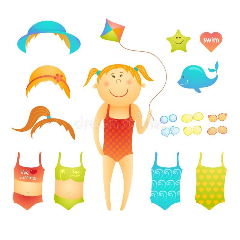 Fille mignonne de plage de poupée de papier dans le style de griffonnage illustration libre de droits