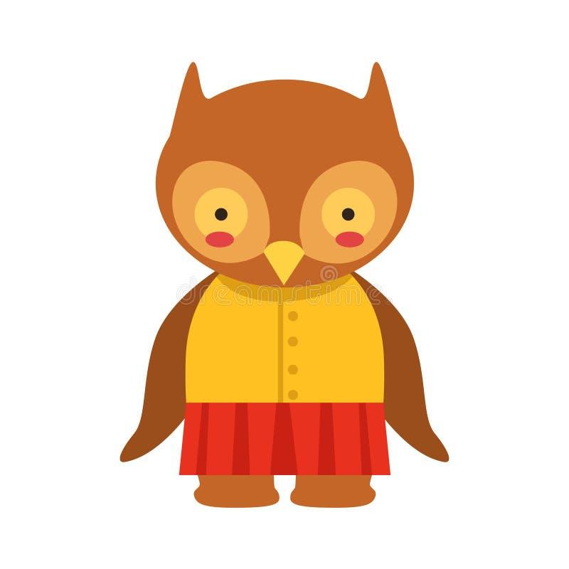 Fille mignonne de Toy Baby Animal Dressed As de jupe rouge d'Owl In Yellow Top And petite illustration libre de droits