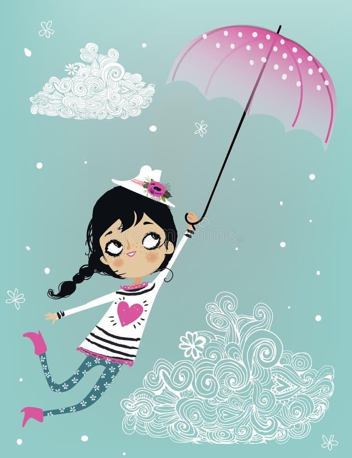 Fille mignonne de vol avec le parapluie illustration libre de droits