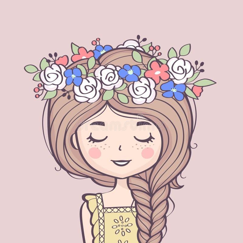 Fille mignonne en guirlande de fleur Belle fille avec la tresse et les fleurs illustration stock