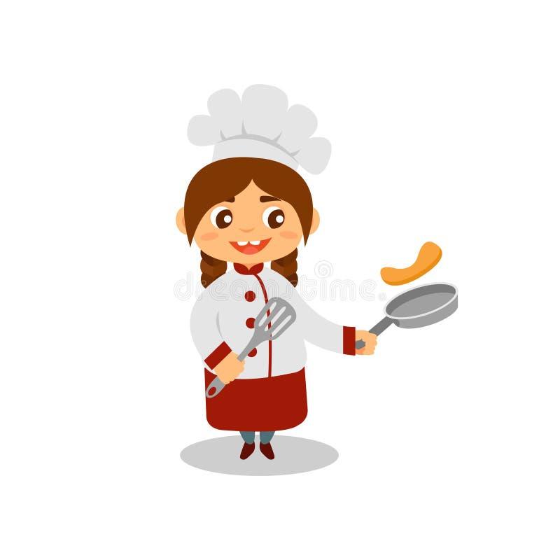 Fille mignonne faisant cuire des crêpes Petit cuisinier heureux avec la casserole et la spatule dans des mains Enfant dans l'unif illustration de vecteur