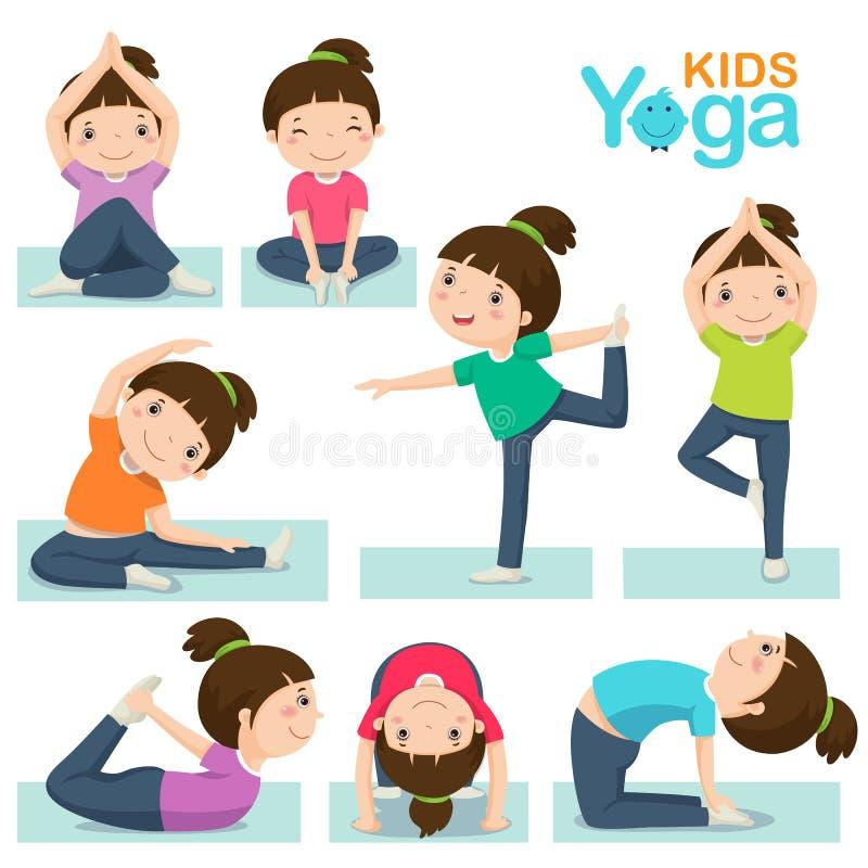 Fille mignonne faisant le yoga sur un fond blanc illustration stock