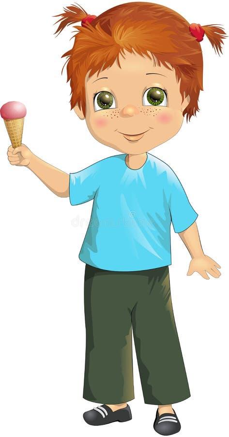 Fille mignonne heureuse d'illustration de vecteur petite avec le cornet de crème glacée illustration libre de droits