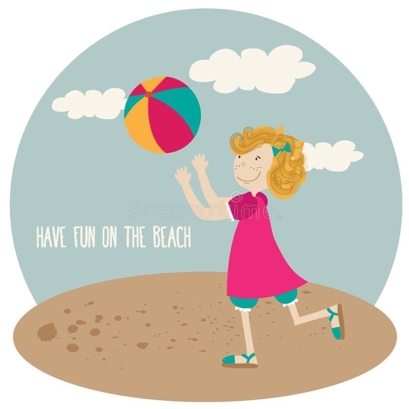 Fille mignonne jouer la boule, affiche de vacances d'été image stock