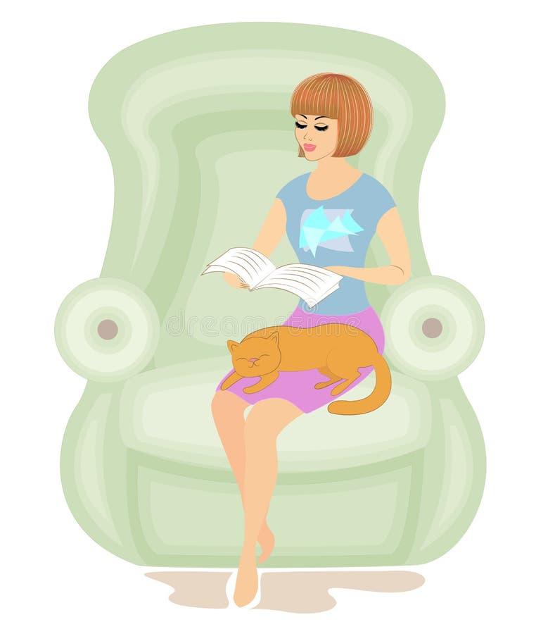 Fille mignonne lisant un livre dans la chaise La dame tient un chat, l'animal dort Humeur et confort joyeux Vecteur illustration de vecteur