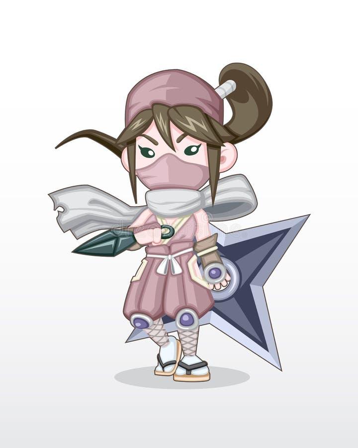 Fille mignonne Ninja Illustration de style illustration libre de droits