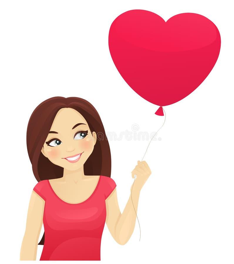 Fille mignonne pensant à l'amour illustration libre de droits