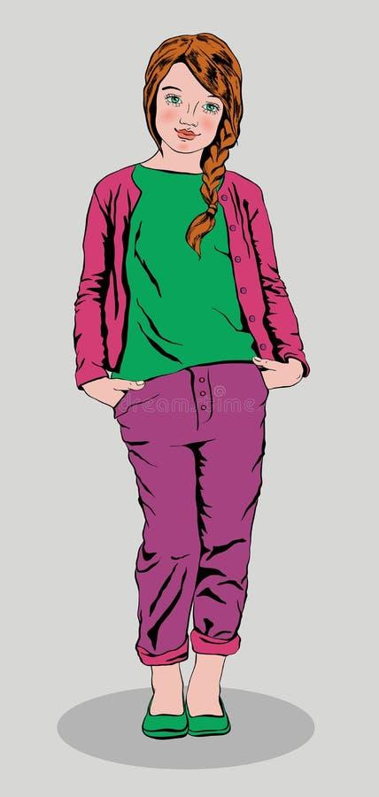 Fille mignonne portant des jeans pourpres et une position verte de chemise photographie stock libre de droits