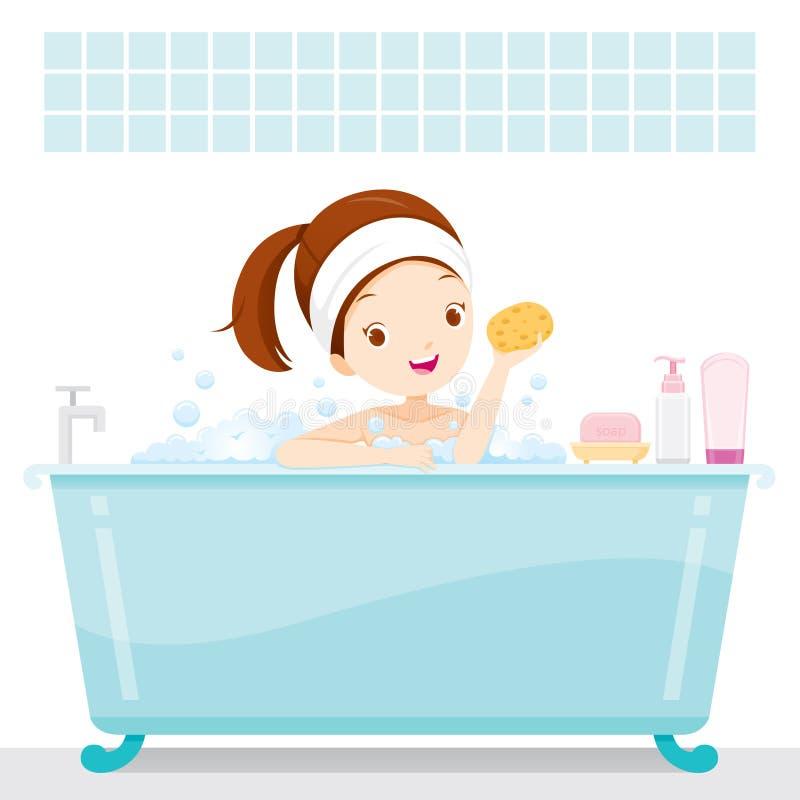 Fille mignonne se baignant dans la baignoire, dans la salle de bains illustration stock