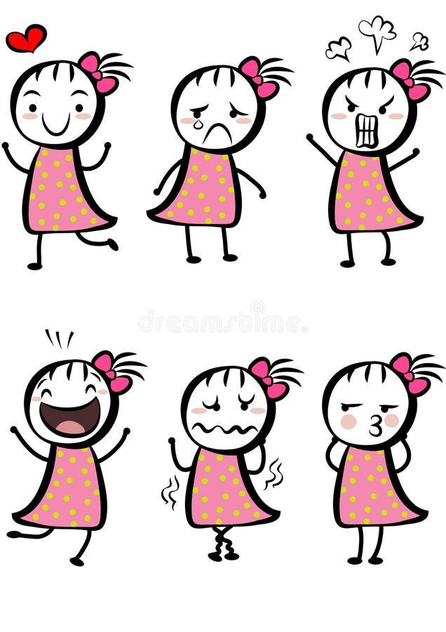 Fille Mignonne Simple De Dessin Animé Illustration Stock