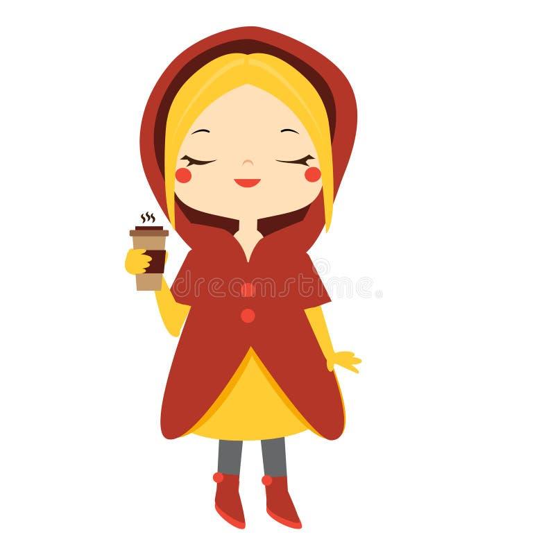Fille mignonne tenant la tasse de café chaude Badine l'activité en plein air d'hiver Illustration de vecteur illustration stock
