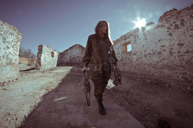 Fille militaire photographie stock
