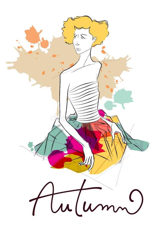 Fille moderne d'automne illustration stock