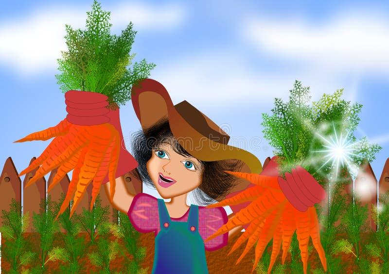 Fille moissonnant des carottes illustration de vecteur