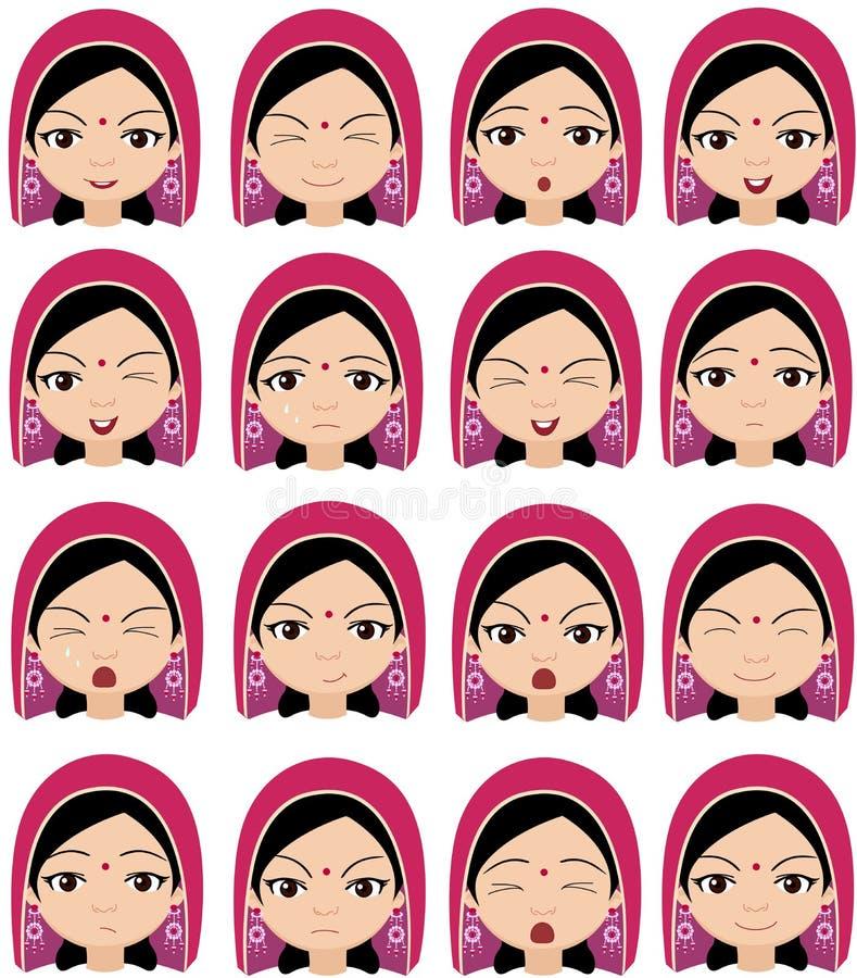 Fille musulmane dans des émotions d'une coiffe : joie, surprise, crainte illustration de vecteur