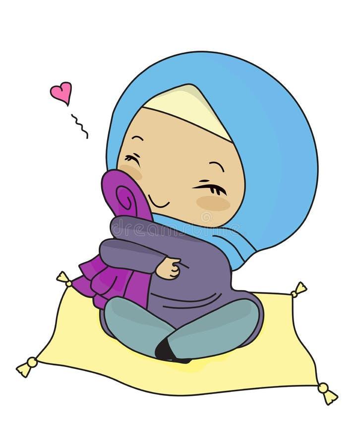 Fille musulmane heureuse avec des tissus illustration libre de droits