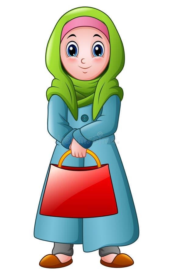 Fille musulmane heureuse tenant le sac rouge illustration de vecteur