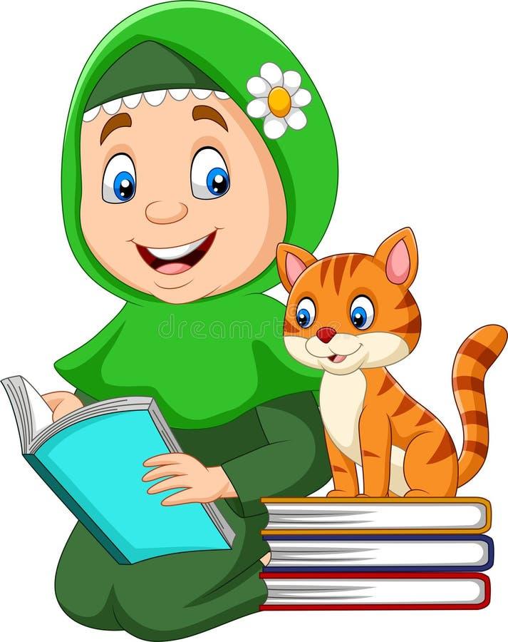 Fille musulmane lisant un livre avec le chat illustration libre de droits