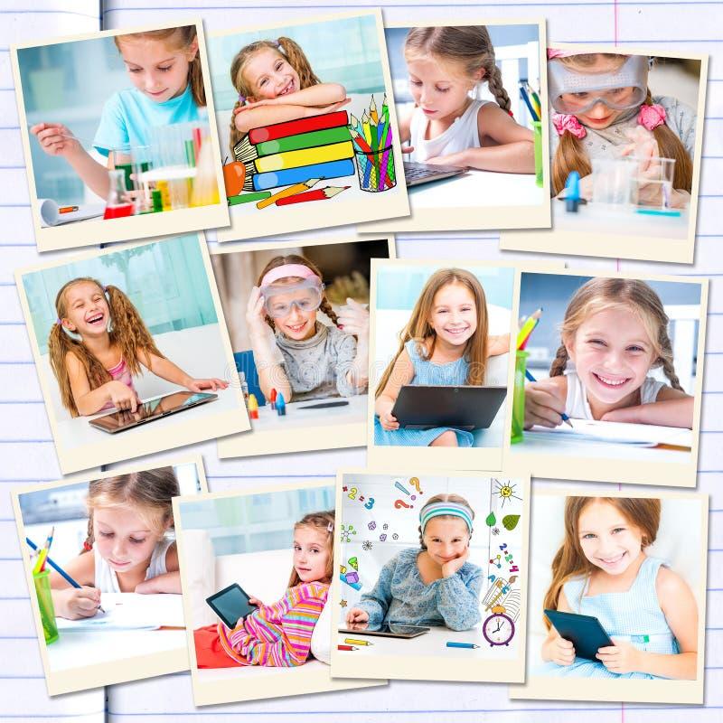 Fille occupée avec ses études et dessin images libres de droits
