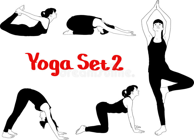 Fille occupée dans le yoga illustration de vecteur