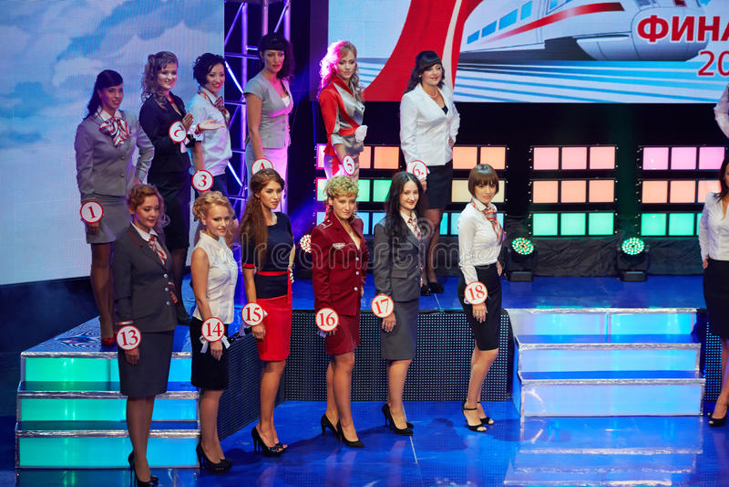 Fille-participants de la finale de la beauté nationale de concurrence des chemins de fer russes photo stock