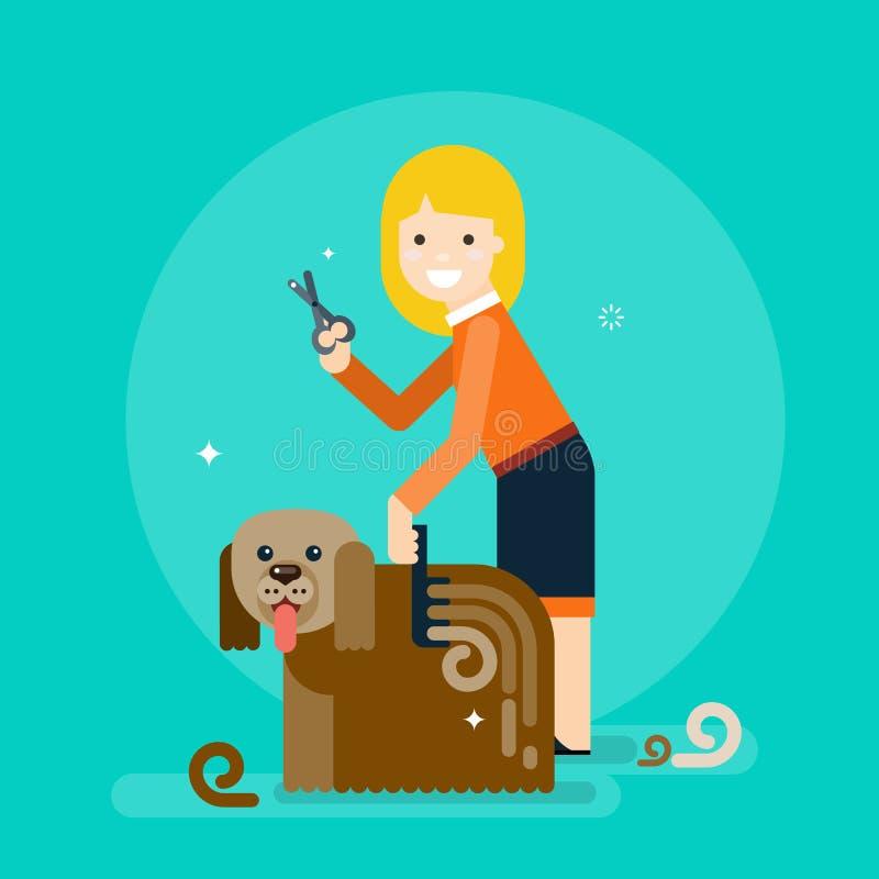 Fille peignant un chien Poursuivez le toilettage illustration stock