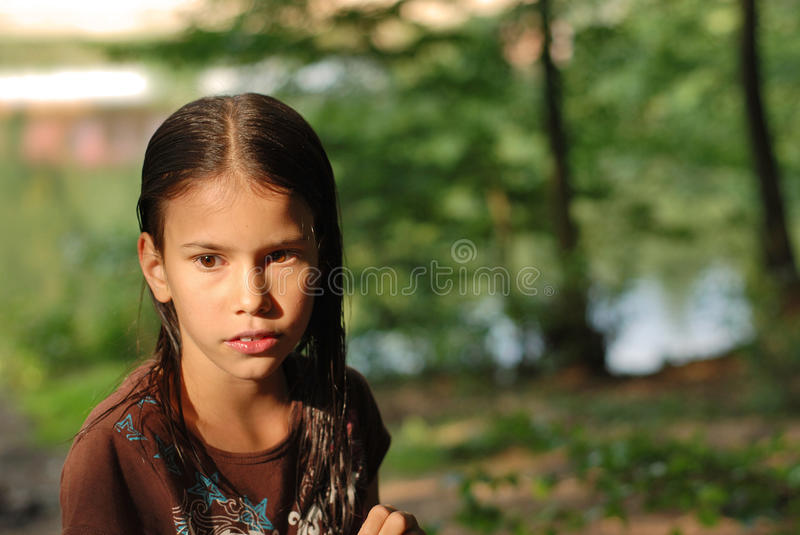 Fille pensive photo stock