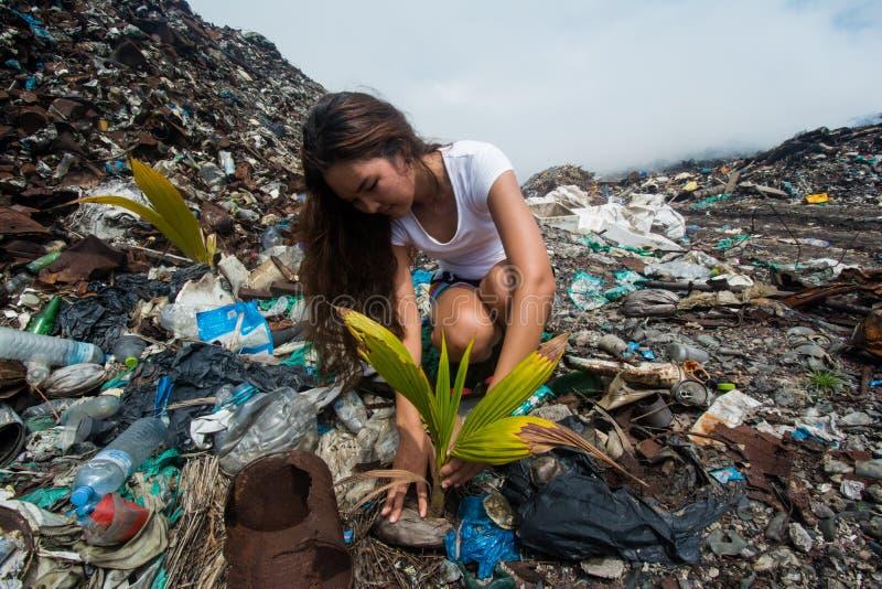 Fille plantant l'arbre parmi des déchets à la décharge de déchets photos libres de droits