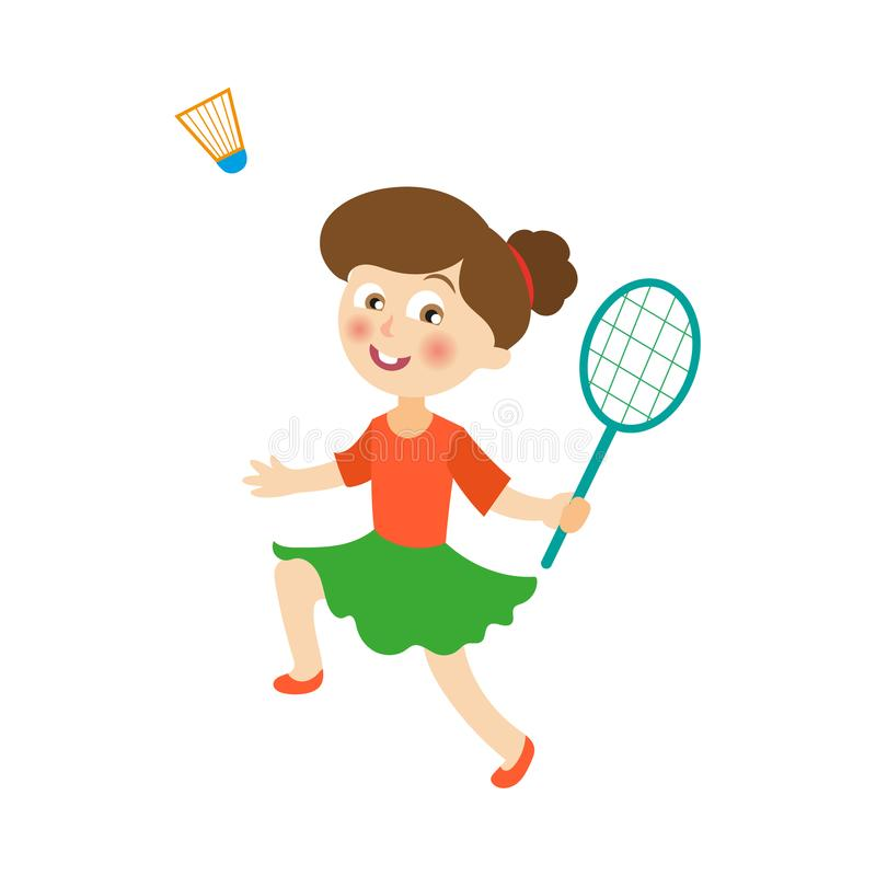 Fille plate de vecteur jouant le volant de badminton illustration stock