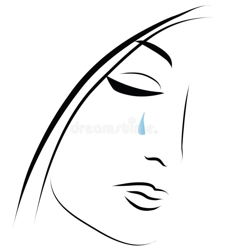 Fille pleurante illustration stock