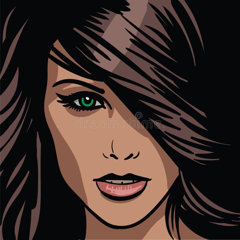 Fille Portrait Femme châtain aux yeux verts illustration stock